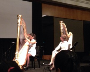 Nicolette Chin (Singapore) plays for Maria Luisa Rayan-Forero at the World Harp Congress, Sydney.