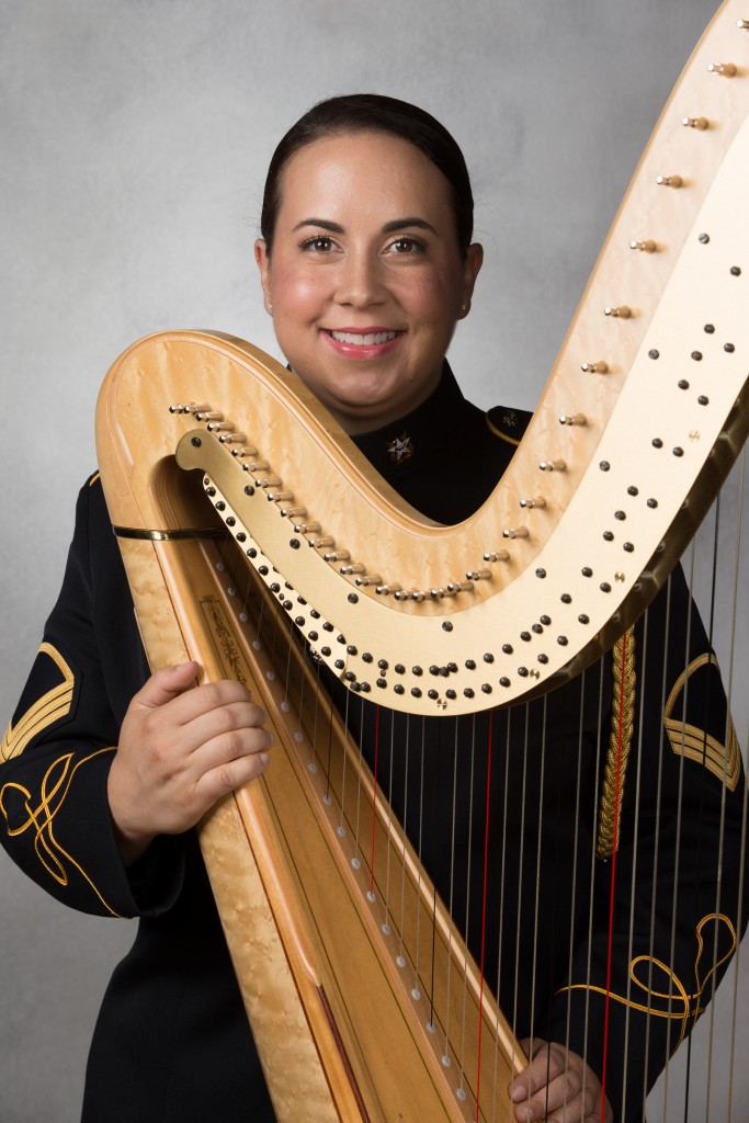 Staff Sergeant Nadia Pessoa is harpist with the United States Army Band. (photo: Victoria Chamberlin)